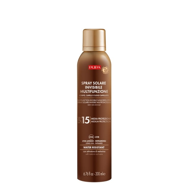 Spray Solaire Multifonction SPF 15  Protection complète contre les rayons UVB, UVA, UVA longs et infrarouges - Pupa - Incenza