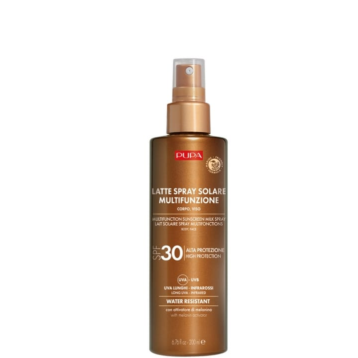 Lait Solaire Spray Multifonction SPF 30  Protection complète contre les rayons UVB, UVA, UVA longs et infrarouges - Pupa - Incenza