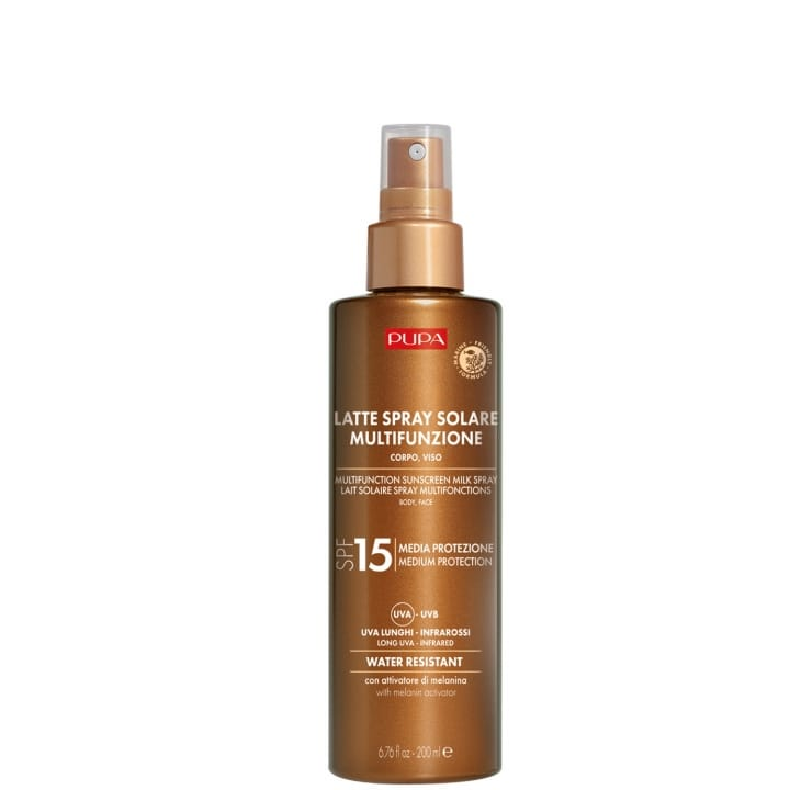 Lait Solaire Spray Multifonction SPF 15 Protection complète contre les rayons UVB, UVA, UVA longs et infrarouges - Pupa - Incenza