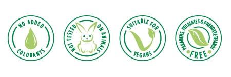 Sans Colorant ajouté - Sans Paraben - Sans Phtalate - Sans Phénoxyéthanol - Convient aux Vegans - Non testé sur les animaux